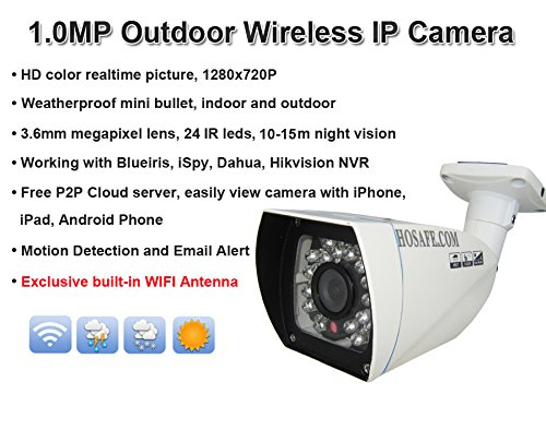 Hosafe 1mw12 720p wireless ip camera outdoor hd plug and for Camera email
