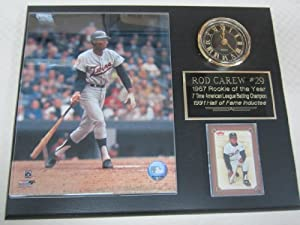 Rod Carew Minnesota Twins Collectors Clock Plaque w 8x10 Photo and Card by J & C Baseball Clubhouse