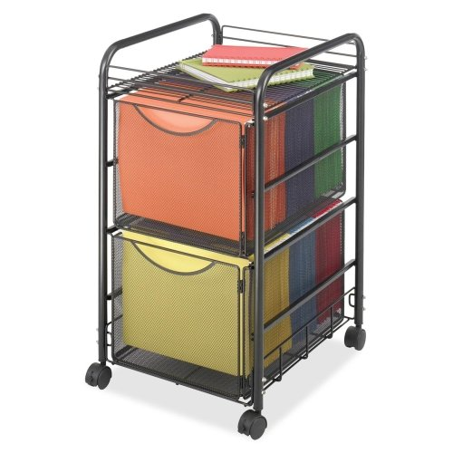 Safco Onyx Double Mesh Mobile File Cart - 2 Shelf - 2 Drawer - 4 x 1.5