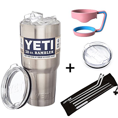 Yeti Rambler Tumbler Bundle With Drink Accessory Kit Gift Set - Non Slip Grip Handle, No More Spills Slider Lid, 4 Stainless Steel Straws and Cleaning Brush. Drinking Accessories Also Fit RTIC Rambler (Yeti Cooler Beverage Holder compare prices)