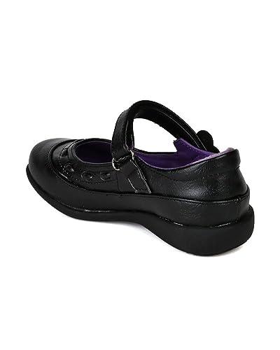 School-Rider-Girls-Nicki-712E-Flower-Decor-Velcro-Strap-School-Uniform-Shoes