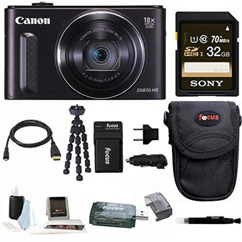 Canon Powershot SX610 HS (Black) w/ 32GB Deluxe Accessory Bundle (Sx600 Hs Bundle compare prices)