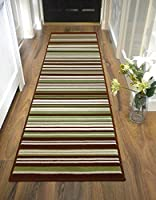Large Contemporary Stripe Design Green Brown Runner Rug in 60 x 220 cm (2' x 7'4'') Carpet from Lord of Rugs