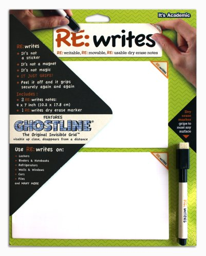 It's Academic Re:Writes Ghostline Invisible Grid, 4 x 7 Inches, 2 Notes and 1 Dry Erase Marker (07075) - 1