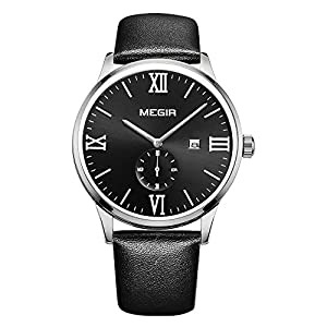 GOHUOS Men's Casual Classic Quartz Analog Roman Numeral Day Leather Band Calendar Wrist Watch Black