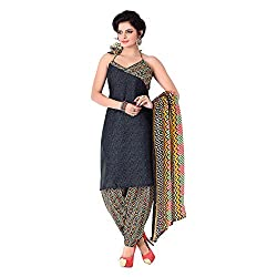 Banorani Womens Poly Cotton Unstitched Salwar Suit Dress Material (Gp-1039 _Black _Free Size)
