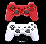 Donop Pair of Red and White Bluetooth Wireless Controller for Ps3 Includes Donop® Black Wristband