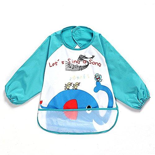 sohv Unisex Bambini Arts Craft pittura grembiule bambino impermeabile Bavaglino con maniche e tasca, 6-36mesi, un elefante blu, Set di 1