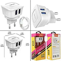 LDNIO Power Portable Travel USB Chargers Wall Charger Outlet Tap 2 USB Port For Android Smart Phones, iPhones, iPad, Mp3,Tablet (India)