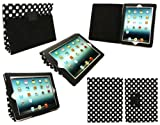 Flash Superstore New Apple Ipad 3 & Apple Ipad 2 Black / White Polka Dots Multifunctional / Multi Angle Wallet / Cover / Stand / Typing Case With Magnetic Sleep Wake Sensor (All versions Wi-Fi and Wi-Fi + 3G/4G - 16GB 32GB 64GB)