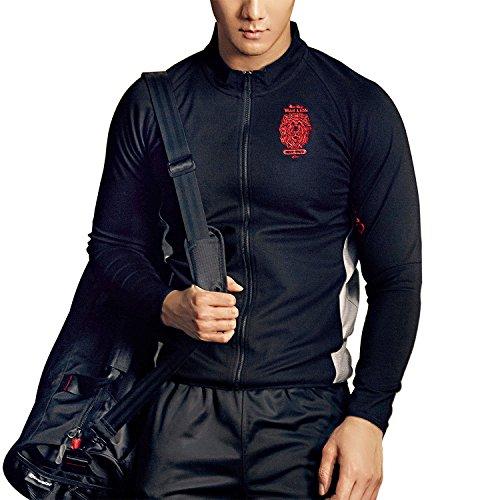 MOEA Men's Sport Collar Long Sleeve Slim Fit Zip Up Sweatshirt Cardigan (L, Black)