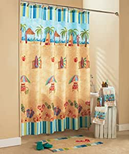 At the beach shower curtain collection for Bathroom decor on amazon