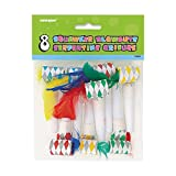 Squawker Party Blowers With Feathers, 8ct