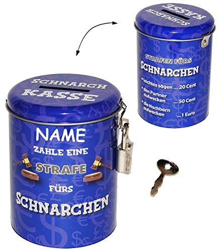 """Spardose als Strafkasse - """" Schnarch Kasse """" - incl. Namen - stabile Sparbüchse aus Metall - incl. 2 Schlüssel - mit STRAFE Schnarchen Schnarcher - Männer / Stop Blechdose - Schlafen - Schlafzimmer - Geld Sparschwein / Betten - lustig witzig"""