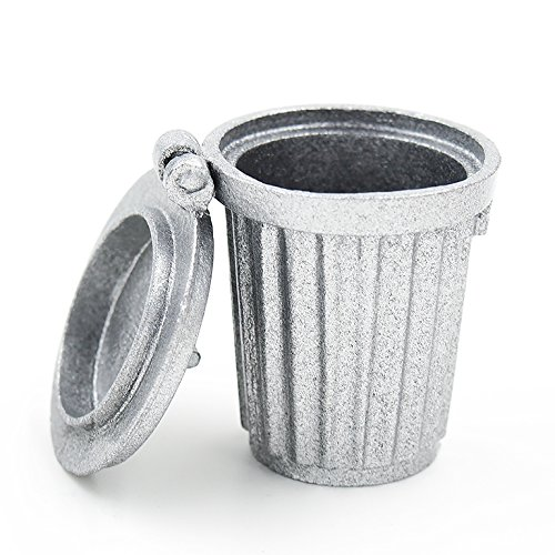 1:12 Garbage Trash Can Metal Gray Empty Street Miniature Doll House Accessory