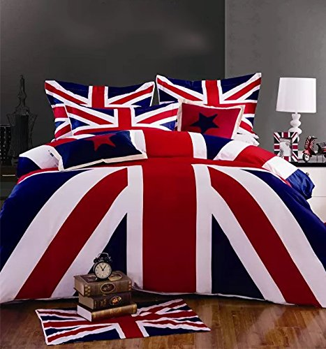 Cliab Union Jack Duvet Cover Set Queen Size 4 Pieces 100% Cotton (British Flag Bedding compare prices)