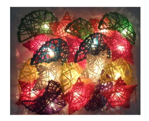 Thai Led Fairy String Light Cotton Heart Mixed Color 20 Balls For Party, Wedding, Christmas Tree And New Year Day # 10 /1 Set