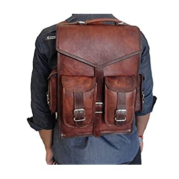 "Handmade_World 15"" Brown Vintage Leather Backpack Laptop Messenger Bag Rucksack Sling for Men Women"