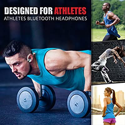 Wireless sports Bluetooth Earbuds - Sweat Proof Fit In Ear Workout Headphones - Stereo Blast Beats Sound - Earphones w/ Mic - Perfect As Gym, Running Headsets - w/ Travel Case - by Bluephonic