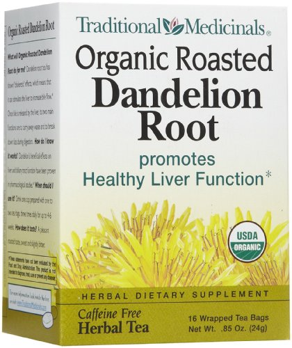 Traditional Medicinals Organic Roasted Dandelion Root Herbal Wrapped Tea Bags- 16 Ct, 6 Pk