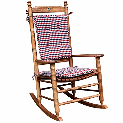 Red White And Blue Gingham Rocking Chair Cushion Set
