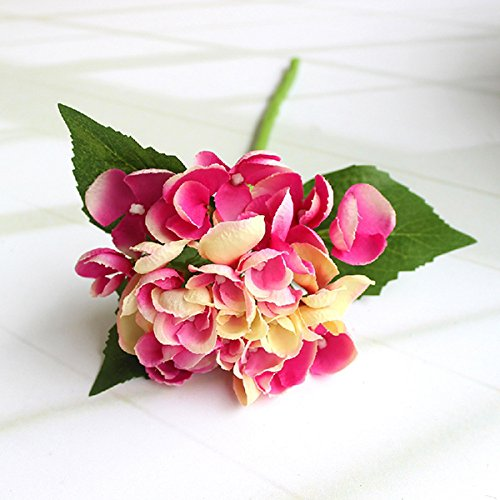 LSD Faux Artificial Silk Floral Flower Bunch Bouquet Home Wedding Party Restaurant Floral Decor Bridal Hydrangea Craft Art DIY artificial bunch with 11 branches