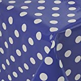 casa pura® Wachstischdecke Polka Dots blau | abwaschbar | ideale Größe wählbar, Meterware (2000x140cm)