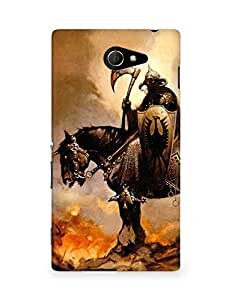 Amez designer printed 3d premium high quality back case cover for Sony Xperia M2 D2302 (Fantasy rider horse fire)