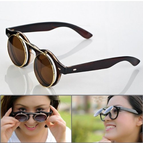 1 Pair Retro Steampunk Style Smart Vogue Dress Round Glass Flip Up Clear Lens Golden Frame Brown Sunglasses Glasses Eyewear Lens