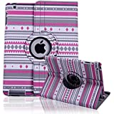 HDE Custom Design Series 360° Rotating Folding Folio Case Stand Smart Cover for iPad 2/3/4 Tablet (Pink Tribal)