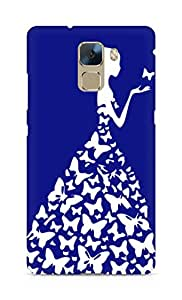 AMEZ designer printed 3d premium high quality back case cover for Huawei Honor 7 (navy blue white girl princess)