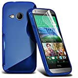 ONX3® HTC One Mini 2 Grip S Line Wave Gel Series Case Skin Cover - LCD Screen Protector Film And Polishing Cloth - Various Colours (Blue)