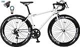 【カーブランド ローバー フロントライト・カギSET】NEXTYLE(ネクスタイル) RNX-7007(ホワイト) SHIMANO(シマノ) ロードバイク ロードレーサー 男女兼用(初心者対応 身長160cm以上 サイズ440mm) 7段変速