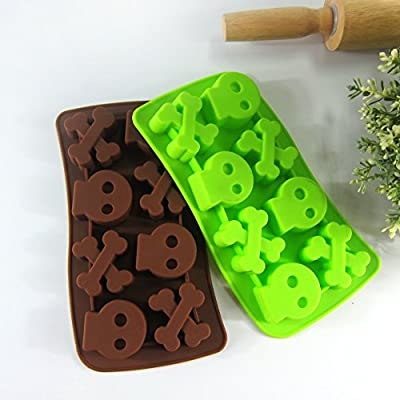Always Your Chef 8 Cavities Skull Bone Shaped Silicone Cake Baking Mold Cake Pan Muffin Cups Biscuit Chocolate Ice Cube Tray DIY Mold