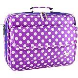 """17"""" Purple Polka Dot Laptop Notebook Case Carrying Bag Messenger Shoulder Bags"""