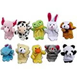 La Demoiselle Story Time 10 pcs Velvet Animal Finger Puppets Multicolor, 10PCS