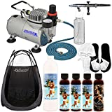 Pro Belloccio Airbrush Sunless Tanning System; Pint of Simple Tan 12% DHA Dark Salon Sunless Tanning Solution, 4 Solution Variety Pack, Tent & Acc.