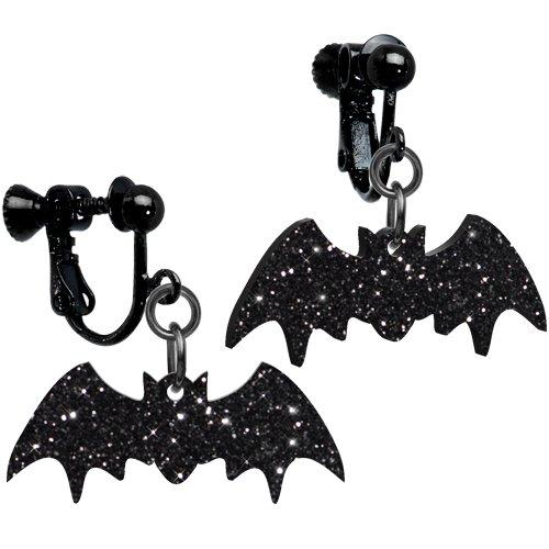 Glittery Black Bat Clip-on Earrings