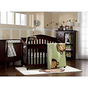 Kids Line Pop Monkey 7 Piece Crib Bedding Set