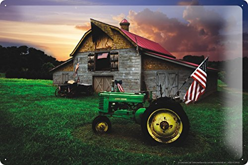 Decorative Tin Sign Tractor Garages old tractor barn America 8X12""