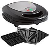 VonShef - Stainless Steel 3 in 1 Sandwich Press / Grill / Waffle Iron