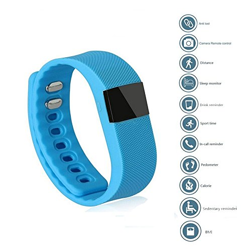 X-Strong® Bluetooth 4.0 Smart Watch Fitness Activity Tracker Smartband Wristband TW64 Intelligent Bracelet Pedometer Anti-lost for IOS Android (Light blue)