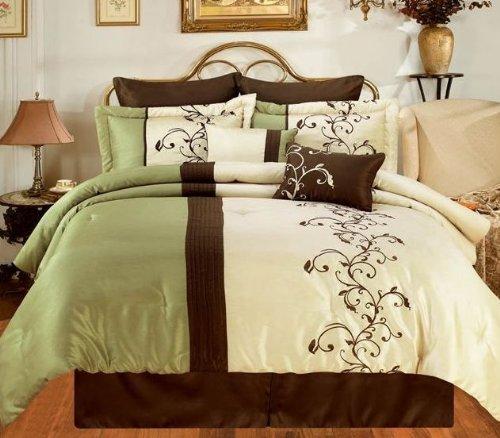 discount bed in a bag amber sage brown cream oversize king 8 piece comforter bed in a bag set. Black Bedroom Furniture Sets. Home Design Ideas
