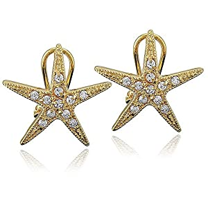 14K Gold Vermeil Cubic Zirconia CZ Accent Starfish Omega-Back Earrings - Ideal Gift For Mother Day, Anniversary, Engagement, Wedding, Birthday, For Her