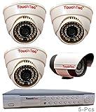TouchTec 4 Channel D1 DVR + 3 Dome IR + 1 Bullet 800 TVL 3.6mm Lens CCTV Camera (5Pcs)