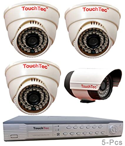 TouchTec-4-Channel-D1-DVR-+-3-Dome-IR-+-1-Bullet-800-TVL-3.6mm-Lens-CCTV-Camera-(5Pcs)