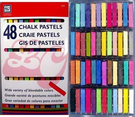 48 Soft Drawing Chalk Pastels in Brilliant Assorted