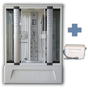 Box doccia idromassaggio con bagno turco 150x85 estasi - Box doccia con bagno turco prezzi ...