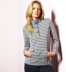 Per Una Cotton Rich Mixed Stripe Fleece Top - Marks & Spencer :  funnel neck women clothing cotton