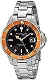 Stuhrling Original Mens 664.04 Aquadiver Quartz Orange Bezel Date Diver Watch
